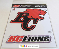 BC LIONS  LOGO STICKER / DECAL - CFL FOOTBALL - INDOOR / OUTDOOR 18CM X 14.5CM