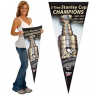 "PITTSBURGH PENGUINS STANLEY CUP PREMIUM PENNANT 17"" X 40"" - NHL HOCKEY"