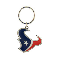 HOUSTON TEXANS - NFL FOOTBALL - DIECUT METAL ENAMEL PAINT LOGO KEYCHAIN