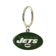 NEW YORK JETS - NFL FOOTBALL - DIECUT METAL ENAMEL PAINT LOGO KEYCHAIN