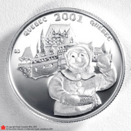 2001 QUEBEC CARNAVAL STERLING SILVER 50CENT. ROYAL CANADIAN MINT.