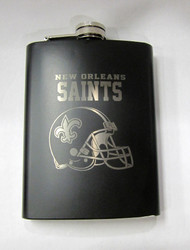NEW ORLEANS SAINTS NFL LASER ENGRAVED STAINLESS STEEL FLASK