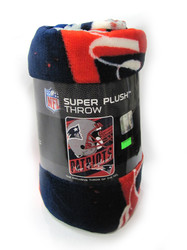 "NEW ENGLAND PATRIOTS - NFL FOOTBALL - SUPER PLUSH THROW BLANKET - 46"" X 60"""