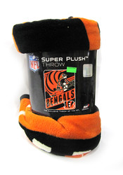 "CINCINNATI BENGALS  - NFL FOOTBALL - SUPER PLUSH THROW BLANKET - 46"" X 60"""