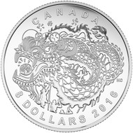 2016 $8 FINE SILVER COIN DRAGON DANCE