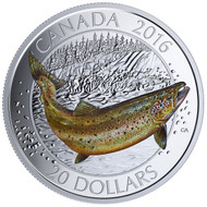 2016 $20 FINE SILVER COIN - CANADIAN SALMONIDS ATLANTIC SALMON