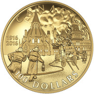 2016 $100 GOLD COIN - CENTENNIAL OF THE PARLIAMENT BUILDINGS FIRE AND THE PRESERVATION OF THE LIBRARY OF PARLIAMENT