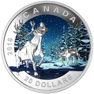 2016 $20 FINE SILVER COIN GEOMETRY IN ART: THE CARIBOU