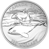 2016 $100 FINE SILVER COIN ORCA WHALE
