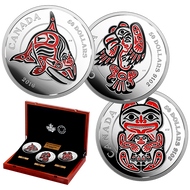2016 $50 FINE SILVER 3-COIN SET – MYTHICAL REALMS OF THE HAIDA SERIES: ORCA - EAGLE - BEAR