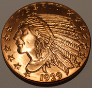 INCUSE INDIAN 5OZ. COPPER ROUND