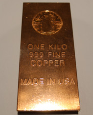 STANDING LIBERTY 1 KILO COPPER BAR