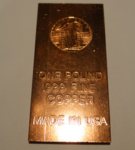 STANDING LIBERTY ONE POUND COPPER BAR