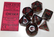 SMOKE WITH RED - TRANSLUCENT - POLYHEDRAL 7-DIE SET