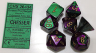 GREEN-PURPLE WITH GOLD - GEMINI - POLYHEDRAL 7-DIE SET