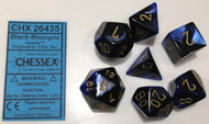 BLACK-BLUE WITH GOLD - GEMINI - POLYHEDRAL 7-DIE SET