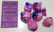 PINK-PURPLE WITH WHITE - GEMINI - POLYHEDRAL 7-DIE SET