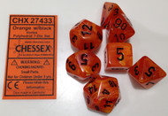 ORANGE WITH BLACK - VORTEX - POLYHEDRAL 7-DIE SET