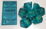 TEAL WITH GOLD - BOREALIS - POLYHEDRAL 7-DIE SET
