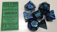 DARK BLUE WITH GREEN - LUSTROUS - POLYHEDRAL 7-DIE SET