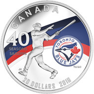 2016 $20 FINE SILVER COIN CELEBRATING THE 40TH SEASON OF THE TORONTO BLUE JAYS™