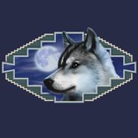 Native American Wildlife, Gray Wolf Navy T-shirt