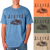 Alaska Moose Men's/Adult Pigment Dyed T-shirt