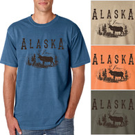 Alaska Elk Men's/Adult Pigment Dyed T-shirt