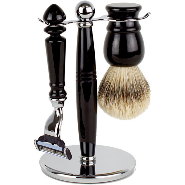 Hirsh Luxury Shaving Set - Black Resin - Mach 3 (HL-MSBA25KS)