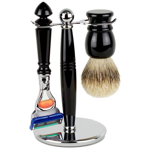 Hirsh Luxury Shaving Set - Black Resin - Fusion (HL-FSBA25KS)