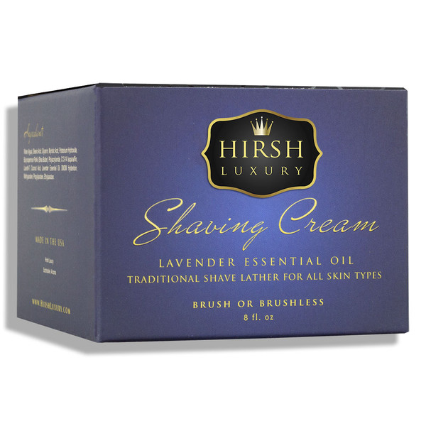 Hirsh Luxury Shaving Cream - Lavender Essential Oil - 8 oz.