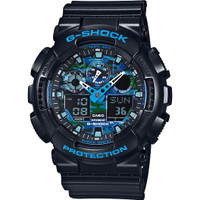 Casio G-Shock Ana-Digital XL Black & Blue Camo Dial GA100CB-1A