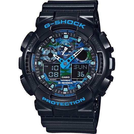 Casio G-Shock Ana-Digital XL Black & Blue Camo Dial GA100CB-1A