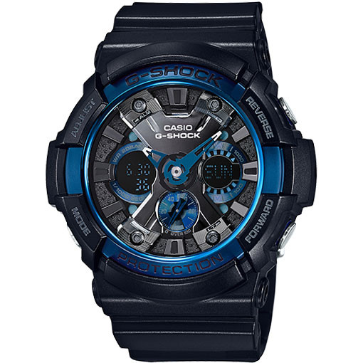 Casio G-Shock Ana-Digital XL Black & Blue IP Bezel
