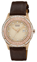 Citizen Ladies Eco-Drive TTG Crystal Bezel Brown Leather Dress Watch FE1113-03A