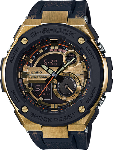 Casio G-Shock G-Steel 2nd Generation 3D Gold Dial GST200CP-9A