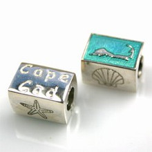 Polished Sterling Silver Cape Cod Bead with Blue/Green Enamel