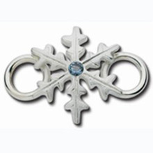 Convertible Sterling Silver with Aqua Marine CZ Snowflake Clasp