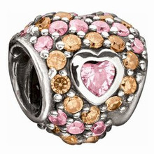 Chamilia Jeweled Heart in Hearts Pink/Orange
