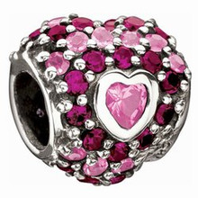 Chamilia Jeweled Heart in Hearts Pink/Red