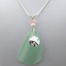 Sterling Silver Sandollar Green Sea Glass Necklace