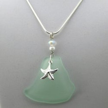 Sterling Silver Starfish and Green Sea Glass Necklace