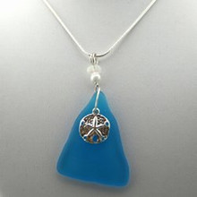 Sterling Silver Sandollar and Aqua Sea Glass Necklace