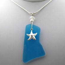 Sterling Silver Starfish and Aqua Sea Glass Necklace