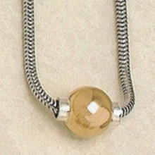Beautiful Sterling Silver Cape Cod Necklace with 14K Gold Ball.
