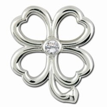 Convertible 4 Leaf Clover April Birthstone Clasp
