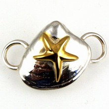 Convertible Sterling Silver and Gold Plate Clam with Starfish Clasp $59.00