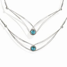 Silver Gemstone Swing Necklace With Blue Topaz - 18""