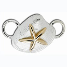 Sterling Silver and 14K Starfish on Clam Shell Clasp