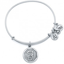Alex and Ani F Initial Bangle Russian Silver